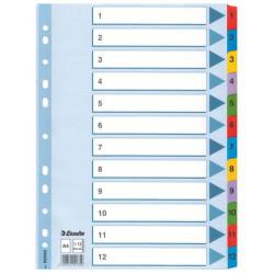 Przekładki kartonowe Esselte A4 (1-12)