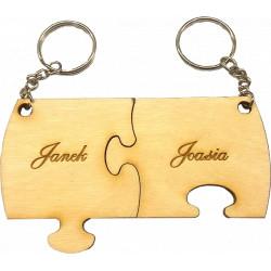 Brelok z grawerem ze sklejki Puzzle dla pary