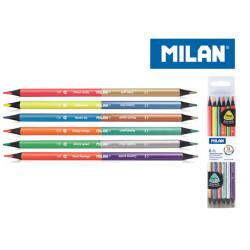 Kredki trójkątne BICOLOR MILAN fluo+metaliczne 12 kolorów