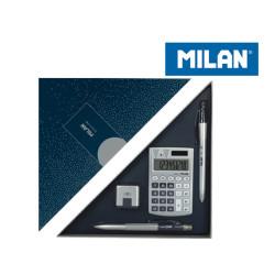Zestaw prezentowy kalkulator SILVER MILAN granat+GRATIS