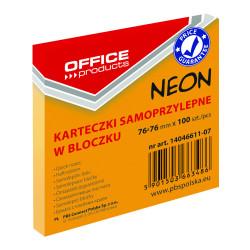 KARTECZKI SAMOPRZYLEPNE 76X76 100K NEON OFFICE POMARAŃCZOWY
