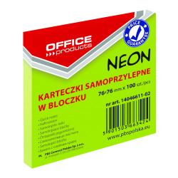 KARTECZKI SAMOPRZYLEPNE 76X76 100K NEON OFFICE ZIELONE