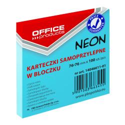 KARTECZKI SAMOPRZYLEPNE 76X76 100K NEON OFFICE NIEBIESKIE