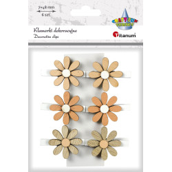 KLAMERKI DEKORACYJNE kwiatki 6 szt