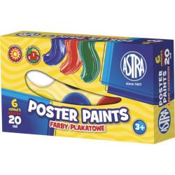 Farby plakatowe ASTRA 6 kolorów 20 ml