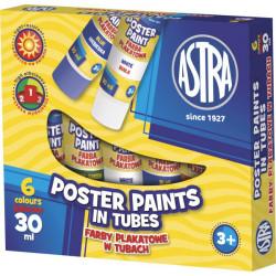 Farby plakatowe ASTRA 6 kolorów 30 ml w tubie