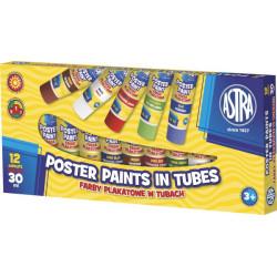 Farby plakatowe ASTRA 12 kolorów 30 ml w tubie