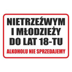 Tabliczka informacyjna A4 SPRZEDAŻ ALKOHOLU PCV