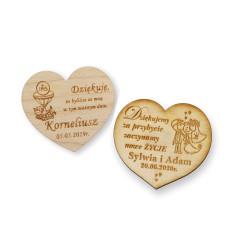 Podziękowanie dla gości magnes drewniany