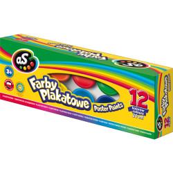 Farby szkolne AS 12 kolorów 20 ml