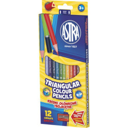 Kredki trójkątne ołówkowe 12 kolorów + temperówka