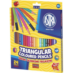 Kredki trójkątne ołówkowe 24 kolory + temperówka