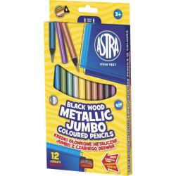 Kredki ołówkowe trójkątne Jumbo Czarne drewno 12 kolorów + temperówka
