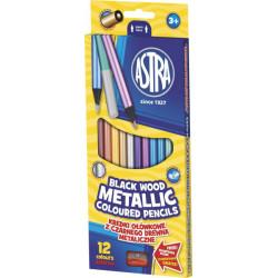 Kredki ołówkowe czarne drewno + temperówka 12 kolorów