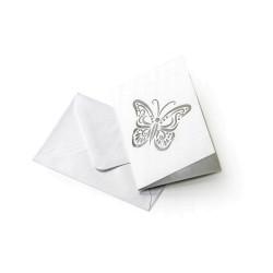 Koperta Ozdobna biała z ażurowym motylkiem