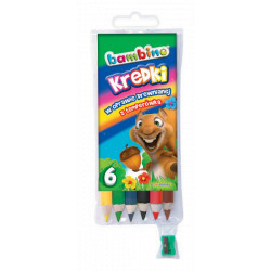 Kredki Bambino w oprawie drewnianej 6 kolorów + temperówka