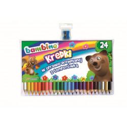 Kredki Bambino w oprawie drewnianej 24 kolory + temperówka