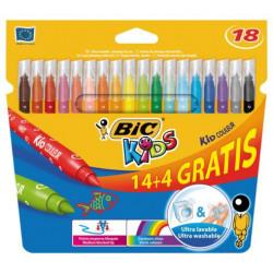 Flamastry Bic Kids Couleur 14 kolorów +4 gratis