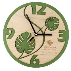 Zegar Ścienny Eco sklejka liście dekoracja grawer