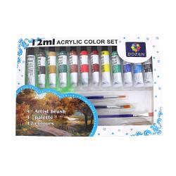 Farba akrylowa zestaw 12kol. + pędzelki
