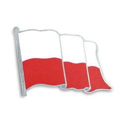 FLAGA Polski pins nadruk srebrny 5x4cm na magnes